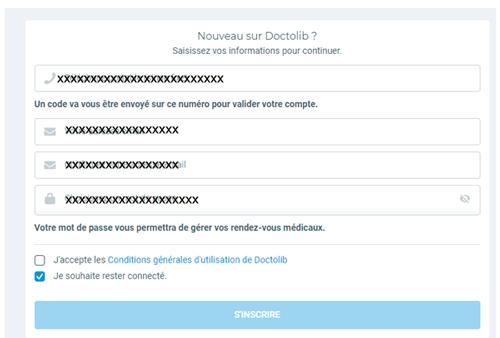 m.doctolib.fr créer un compte