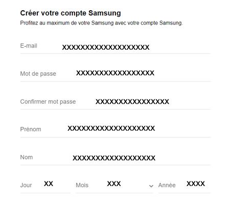 Créer un compte client Samsung