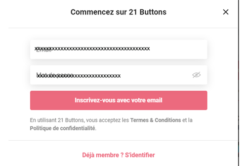 21 buttons s'inscrire