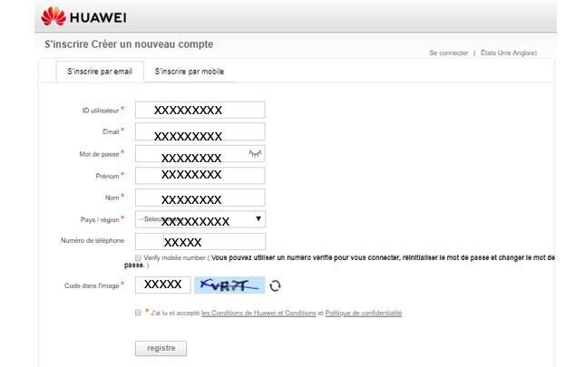 Créer un nouveau compte Huawei