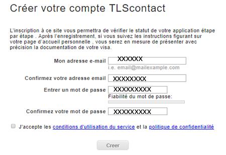 Créer un compte TLScontact
