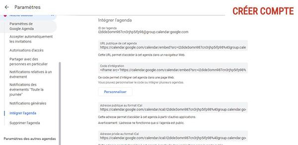 intégration google agenda à votre site web