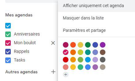 parametres google calendar