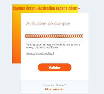 activation espace client sowee
