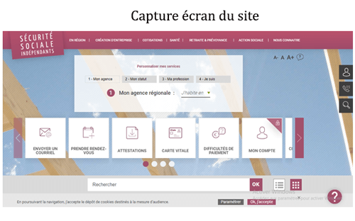Le site www.secu-independants.fr