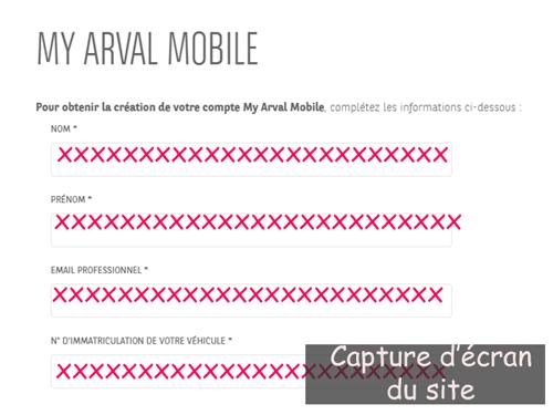 Créer un compte sur arval mobile fr