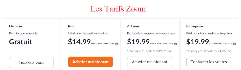 Les tarifs zoom