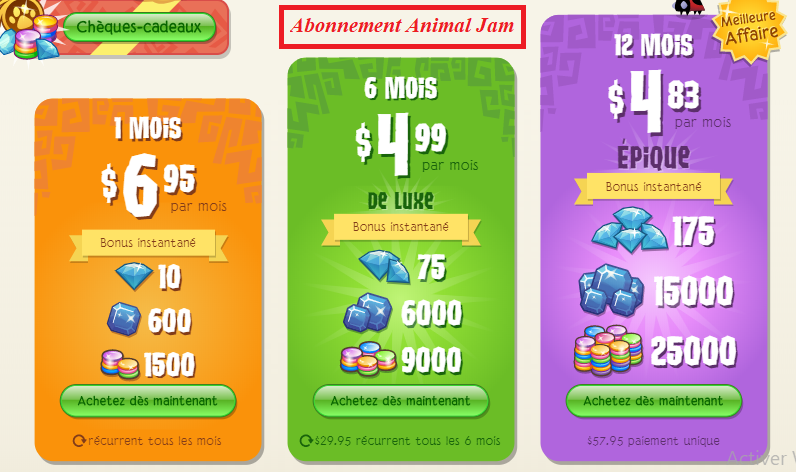 abonnements animal Jam