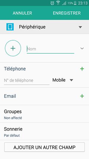 ajouter nom contact