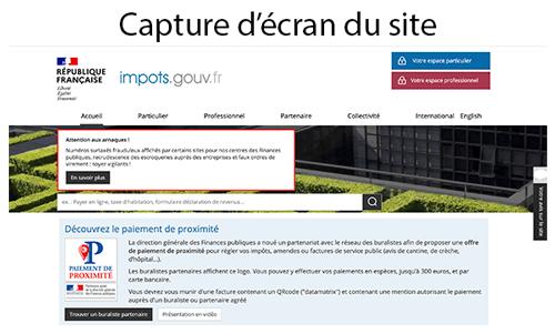 Inscription sur www.impots.gouv.fr