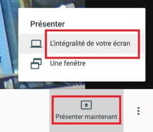 google meet partage écran