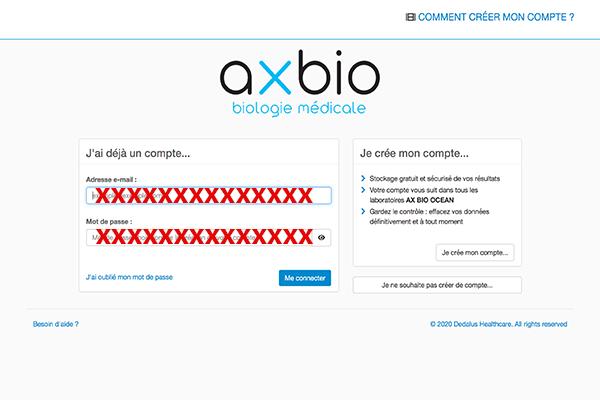 Accès au compte Ax Bio Ocean