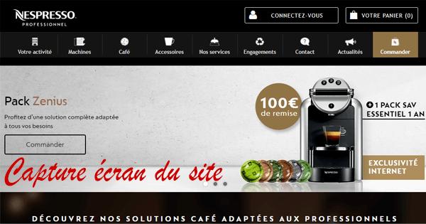 Création de mon compte sur le site Internet Nespresso Pro.