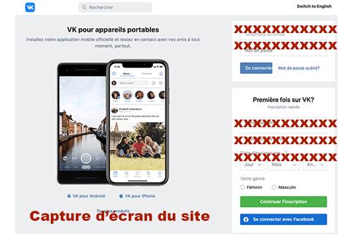 S'inscrire sur vk en français