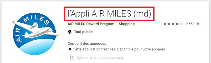 Consulter mon compte Air Miles sur mobile