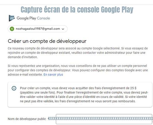 creer compte developper google play